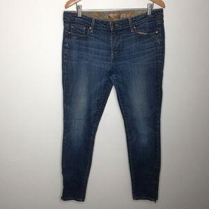 Paige Skyline Blue Denim Zipper Ankle Jeans